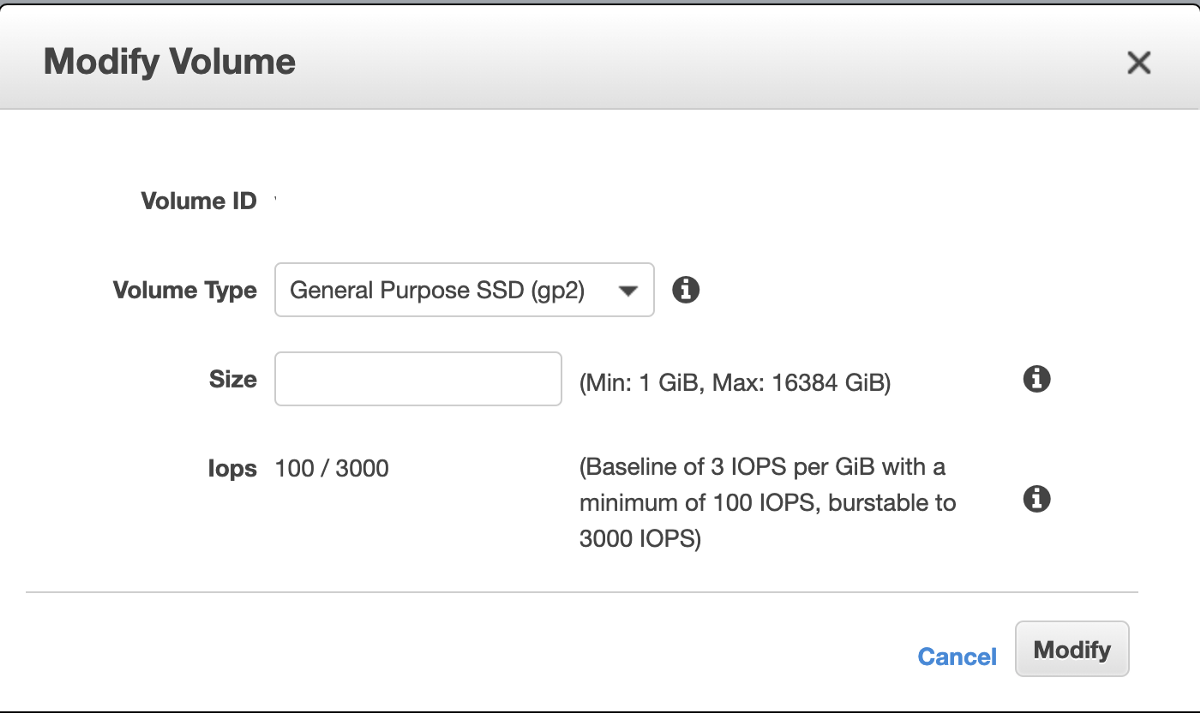 Increase the size of EBS volume in your EC2 instance