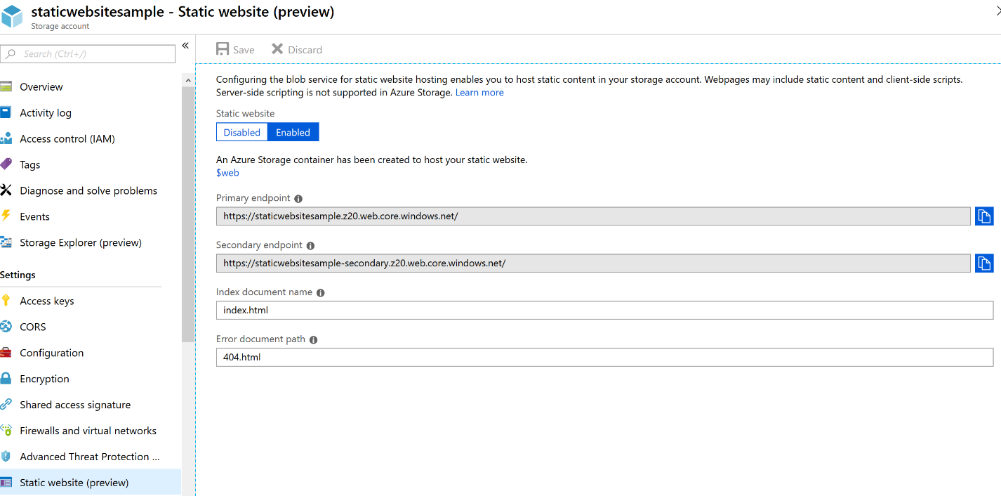 Static websites on Azure Storage now generally available