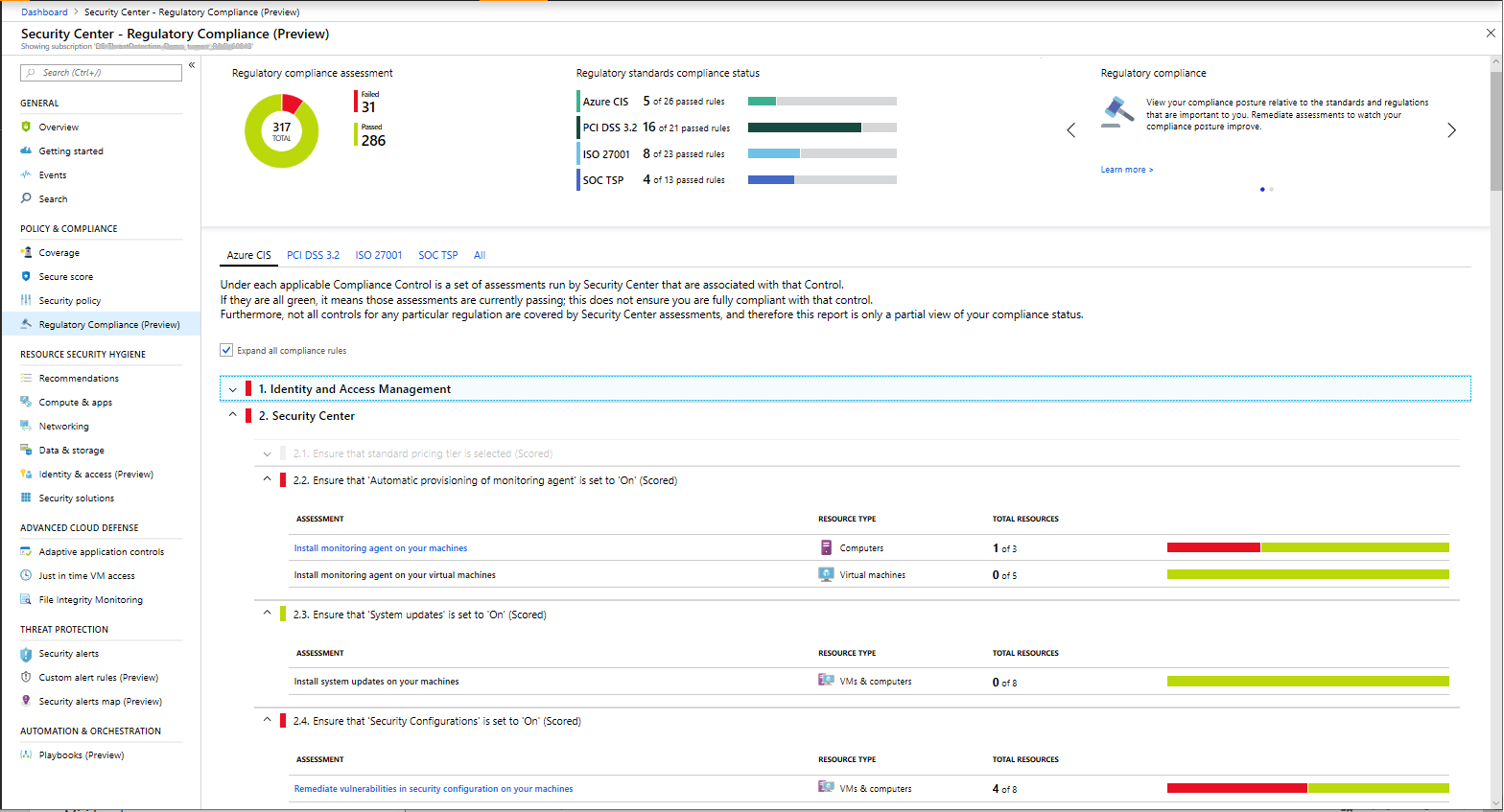 Regulatory compliance dashboard in Azure Security Center now available