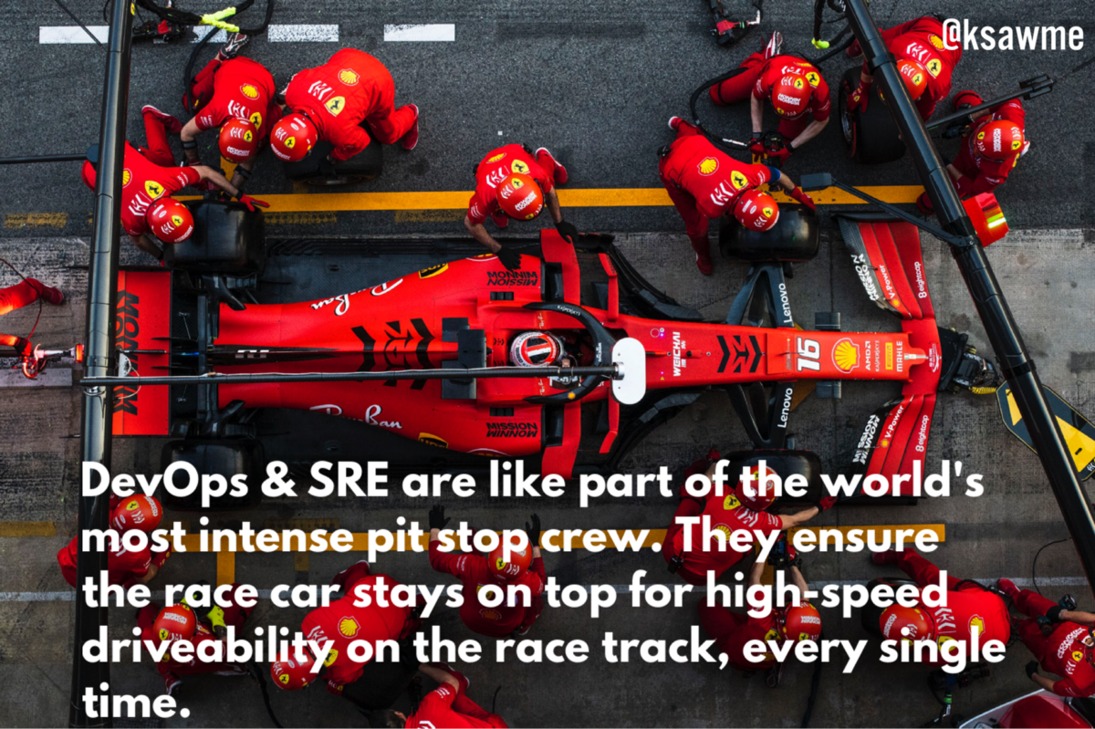 DevOps & SRE are like part of the world's most intense pit stop crew.