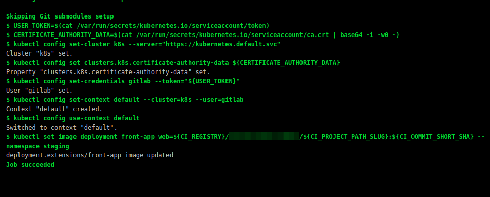 How to update kubernetes deployment image using.gitlab-ci.yml