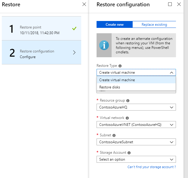 Simplified restore experience for Azure Virtual Machines