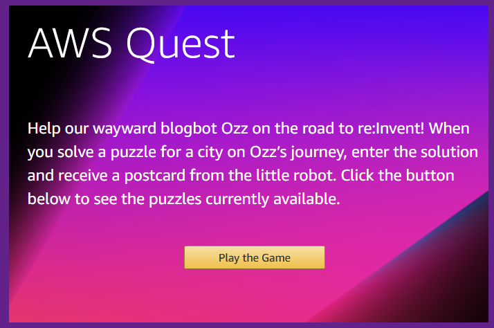 AWS Quest 2 – The Road to re:Invent
